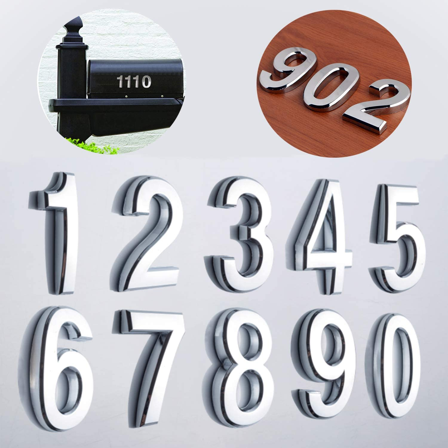 """10 Pack 2-3/4""""(Pack 0 to 9, Shiny Silver) self Adhesive Door House Numbers and Street Address Plaques Numbers for Residence and Mailbox Signs. (2-3/4"""" 10 Pack (0-9), Silver)"""
