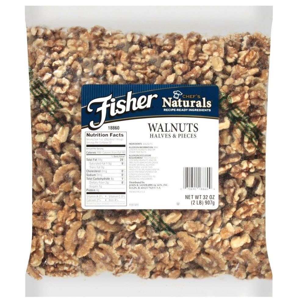 Fisher Chefs Naturals Halve and Piece Walnut, 2 Pound - 3 per case.
