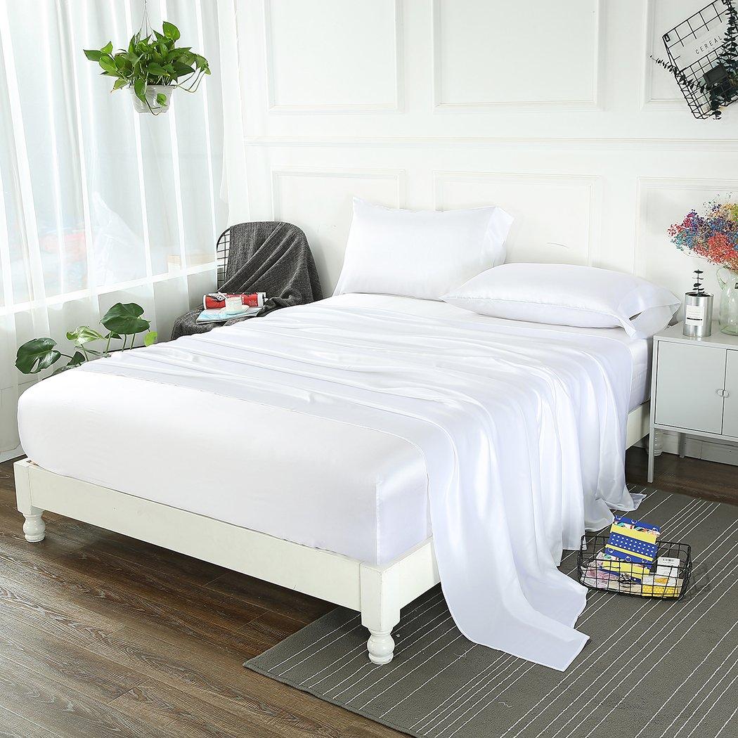 ZIMASILK 4 Pcs 100% Mulberry Silk Bed Sheet Set,All Side 19 Momme Silk (Queen, White)