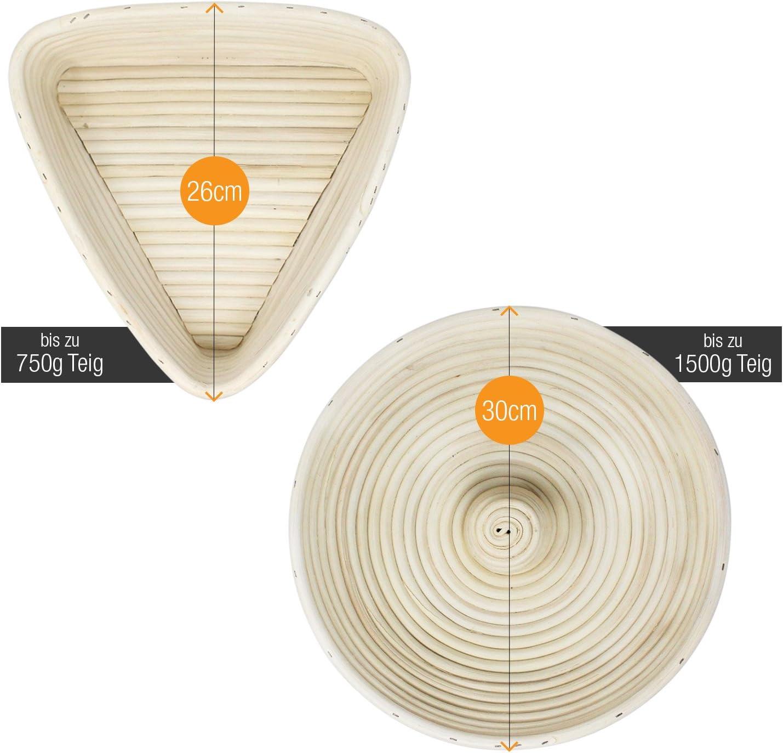 – mit Leineneinsatz Dreieck | 25 cm Amazy Gärkörbchen inkl Anleitung mit Rezepten – der Ideale Gärkorb für Brotteig aus natürlichem Peddigrohr