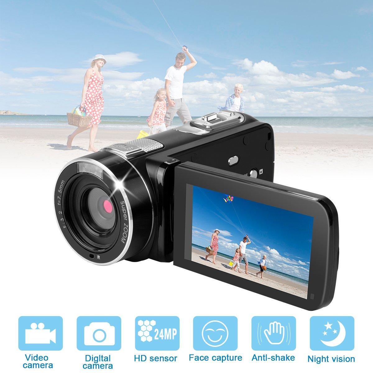 HD Digital Video Recorder Camera Camcorder,24MP 1080P Full HD Digital Video Camera 18X Zoom with Remote Control