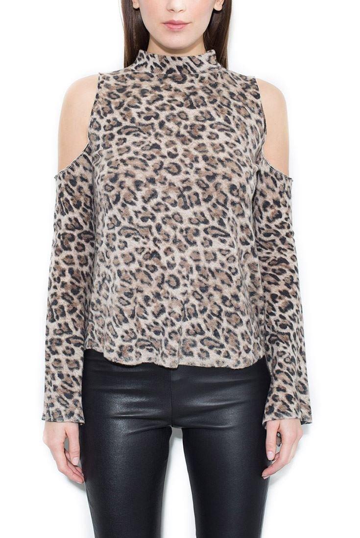 Generation Love Women's Cold-Shoulder Lena Cashmere Top - Leopard - M