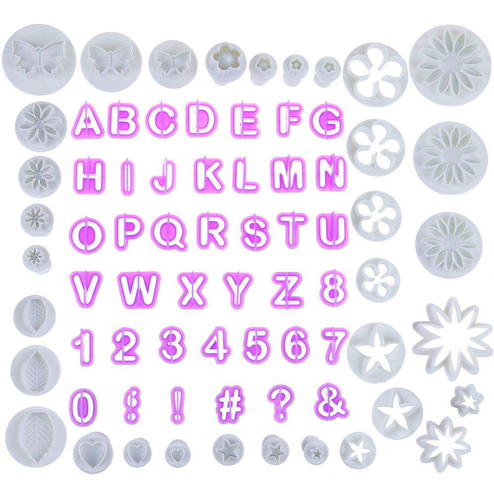 Faburo 77 Pieces Fondant Cutters Sugarcraft and Alphabet Cutters for Cake Decorating