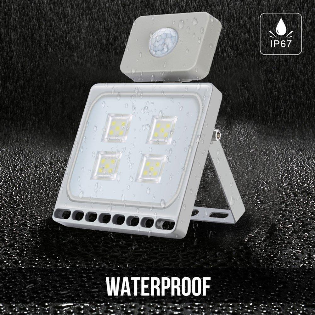 20W Blanco Frío Foco LED Sensor Movimiento Reflector Impermeable SMD IP67 Lámpara PIR Seguridad Lámpara LED 220V LED Exterior (20W*10): Amazon.es: ...