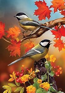 Briarwood Lane Autumn Chickadees Garden Flag Fall Leaves 12.5