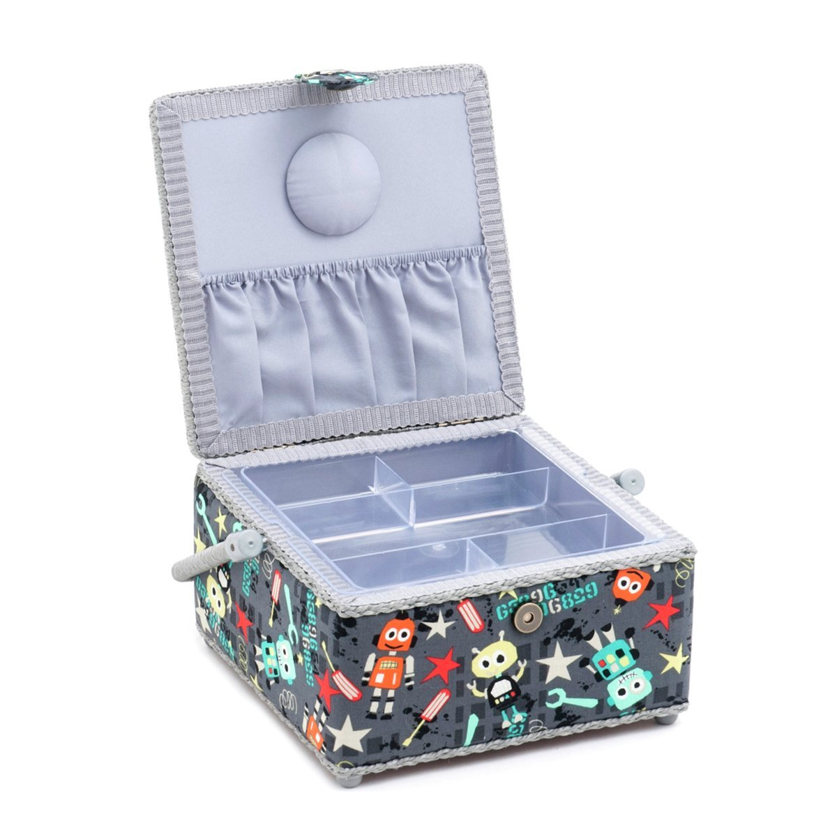 Hobby Gift 'Bot Boy' Medium Square Sewing Box 23 x 23 x 13cm (d/w/h)