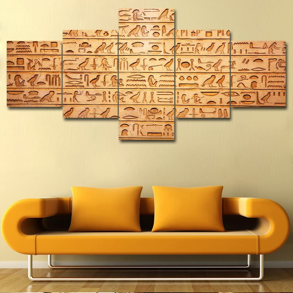 5 Piece Canvas Wall Art Egyptian Hieroglyphics on Wall Pictures for Living Room Vintage Brown Paintings Prints Artwork Modern Home Decor Wooden Framed Gallery-Wrapped Ready to Hang (50''Wx 24''H)