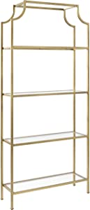 Crosley Furniture Aimee Etagere Bookcase - Gold and Glass