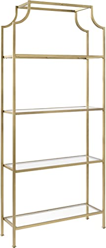 Crosley Furniture Aimee Etagere Bookcase – Gold and Glass