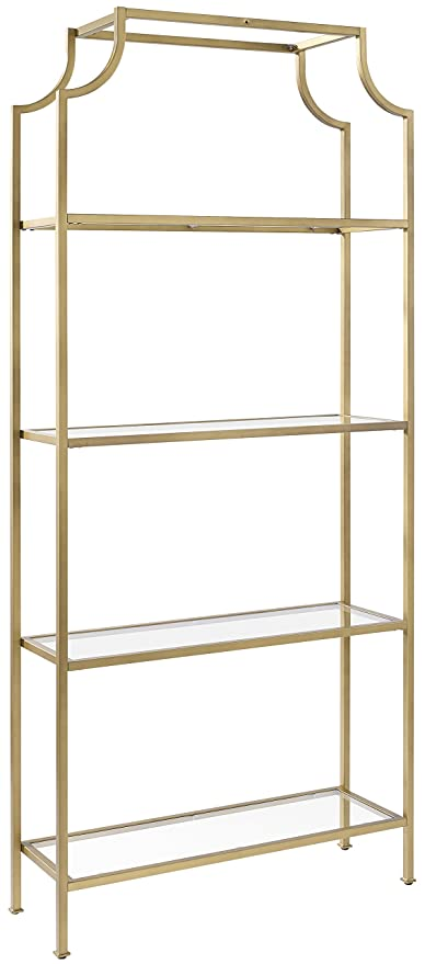 Metal and glass bookcase Modern Metal Image Unavailable Amazoncom Amazoncom Crosley Furniture Cf6101gl Aimee Etagere Bookcase