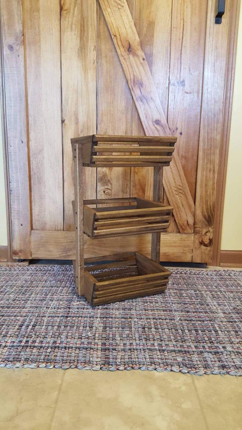 3 Tiered Storage Basket, Vegetable Bin, Wooden Basket, Vegetable Storage, Fruit Basket