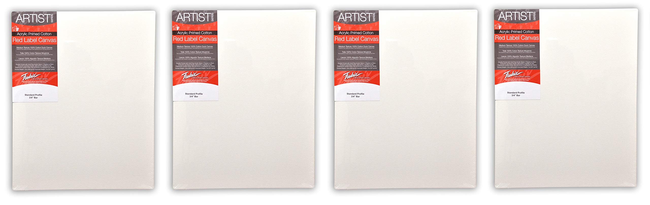 Fredrix 5036 Red Label Stretched Canvas, 30 by 40 Inches (4 Pack)