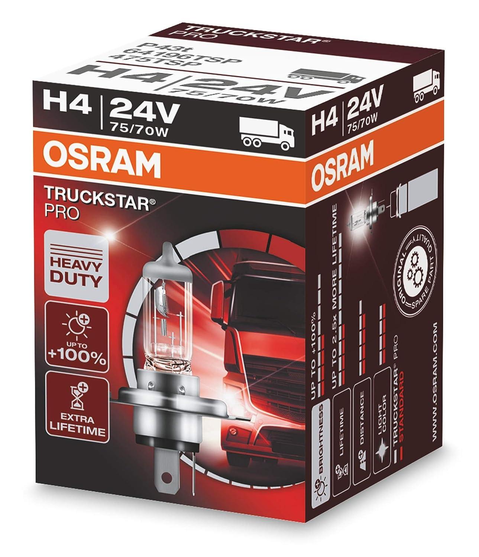 24V Osram TRUCKSTAR Pro H4 Gl/ühlampe 1er Faltschachtel 64196TSP