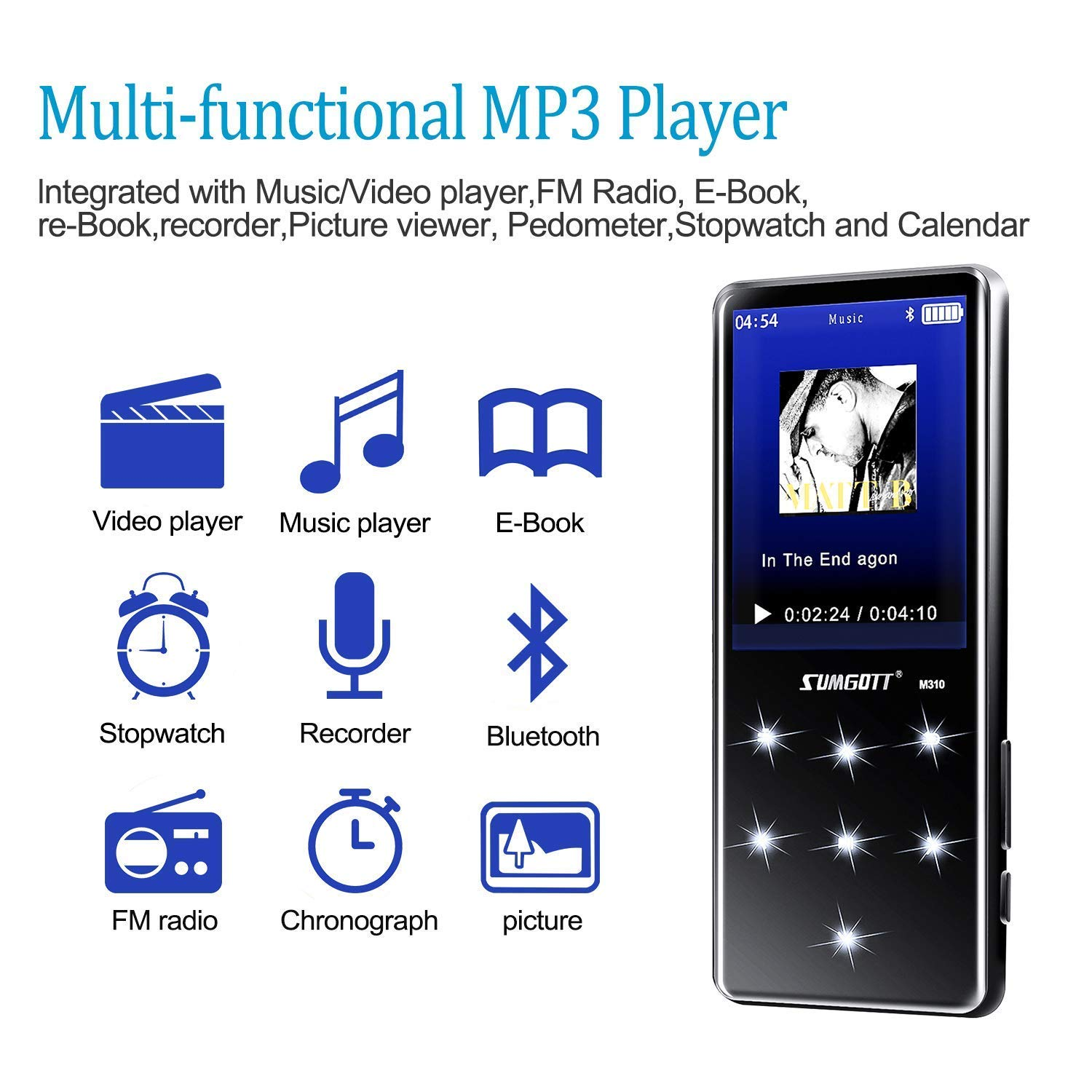 MP3 Player with Bluetooth SUMGOTT Portable 16GB Music Player with FM  Radio/E-Book/Voice Recorder LCD Touch Buttons