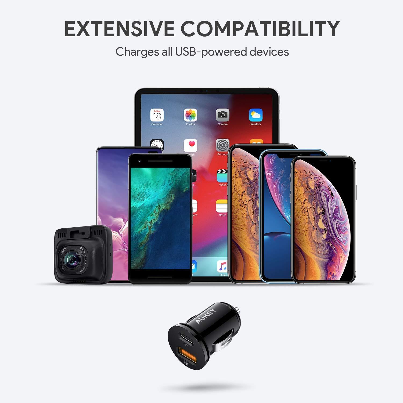 Adaptador para Google Pixel 3//3 XL 5V//3A Cuando Ambos Puertos Se Usan Juntos 21W Power Delivery Samsung Galaxy S9 // S10 AUKEY USB C PD Cargador de Coche iPhone X // 11//11 Pro etc
