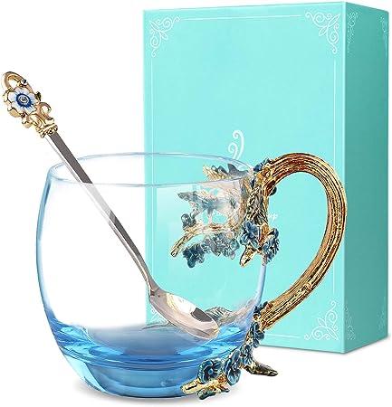 Glas Teetasse ANSUG Enamel Blume Becher Glas-Kaffeetasse Frauen Geschenk-Dekoration Hochzeit Valentinstag Geburtstag