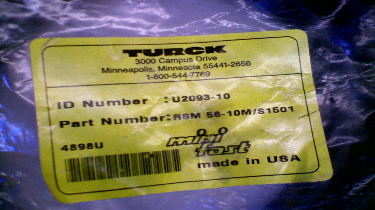 Turck Rsm56-10M//S1501 Cordset 5 Pole Straight Male 10M Rsm56-10M//S1501