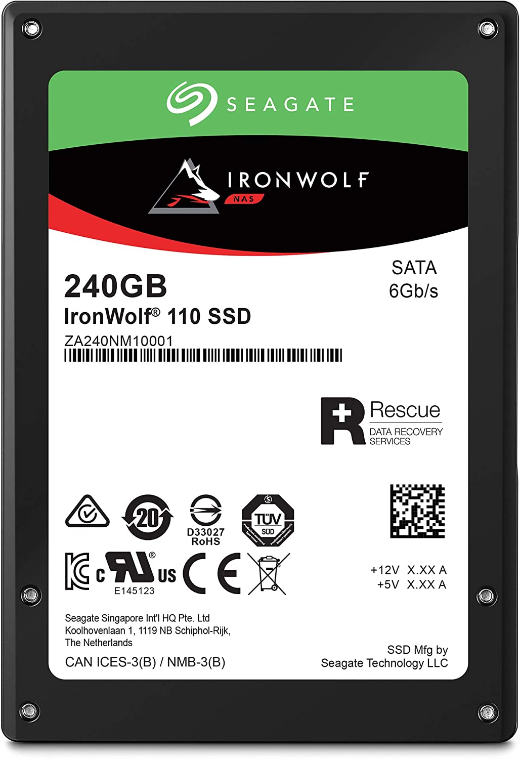 Seagate IronWolf 110 240GB NAS SSD Internal Solid State Drive – 2.5 inch SATA Multibay RAID System Network Attached Storage, 2 Year Data Recovery (ZA240NM10001)