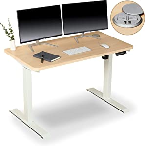 BRODAN Electric Standing Desk with Power Charging Station, Adjustable Height Sit Stand Home Office Desk, 48 x 24 Solid 1-Piece Desktop, Maple Computer Desk with White Frame [Newest Version]