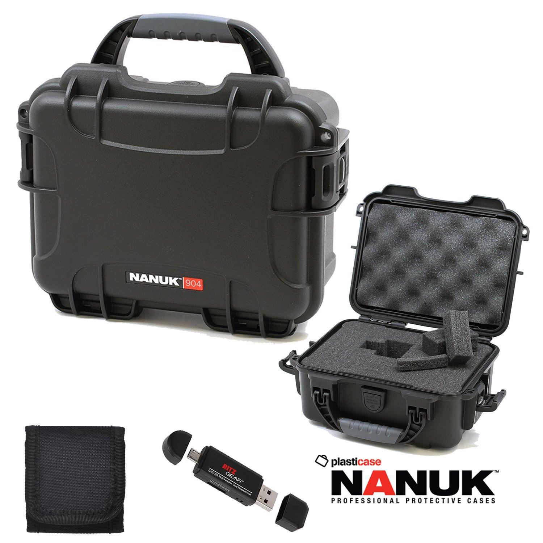 Nanuk 904ハードケースwith Foamブラック904 – 1001、メモリカード財布、およびRitz Gearカードリーダーライター   B01MU5GVB7