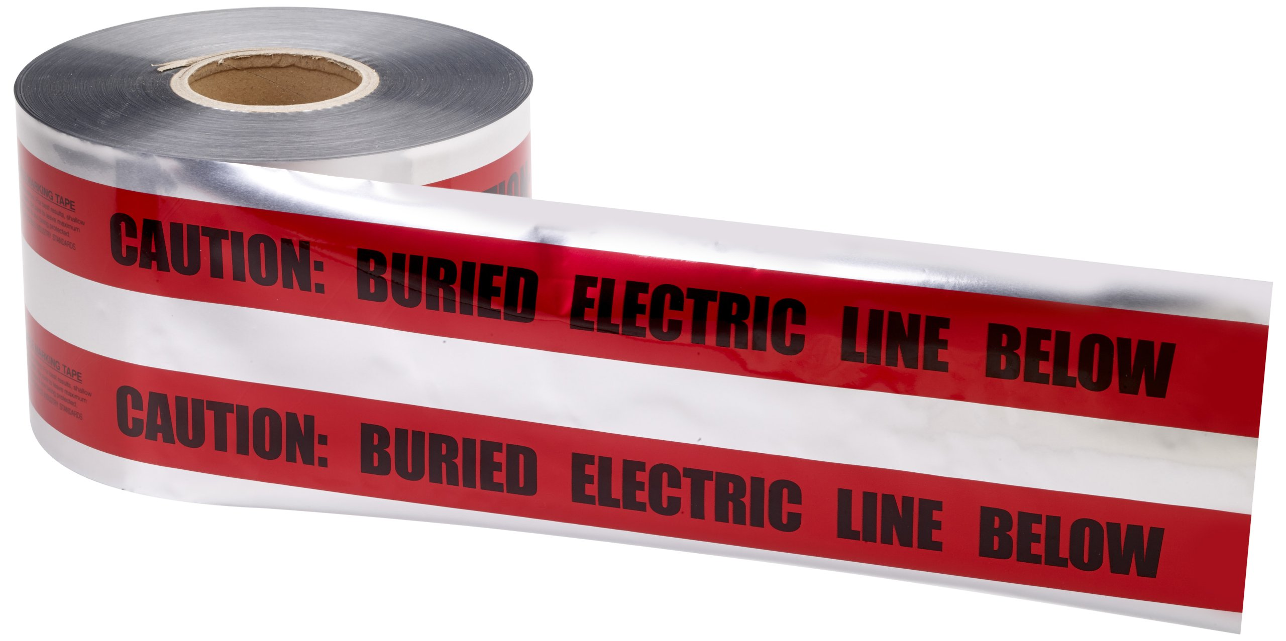Mutual 17774 Polyethylene Underground Electric Line Detectable Marking Tape, 1000' Length x 6'' Width, Red