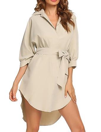 8037dff029c Sheshow Women s Shirt Oversized Boyfriend Fit High-Low Hem Short Dress with  Belt