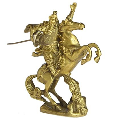Chinese Fengshui Brass Warlord Hero Warrior Guan Gong Guan Yu Fortune Protection Statue Collection