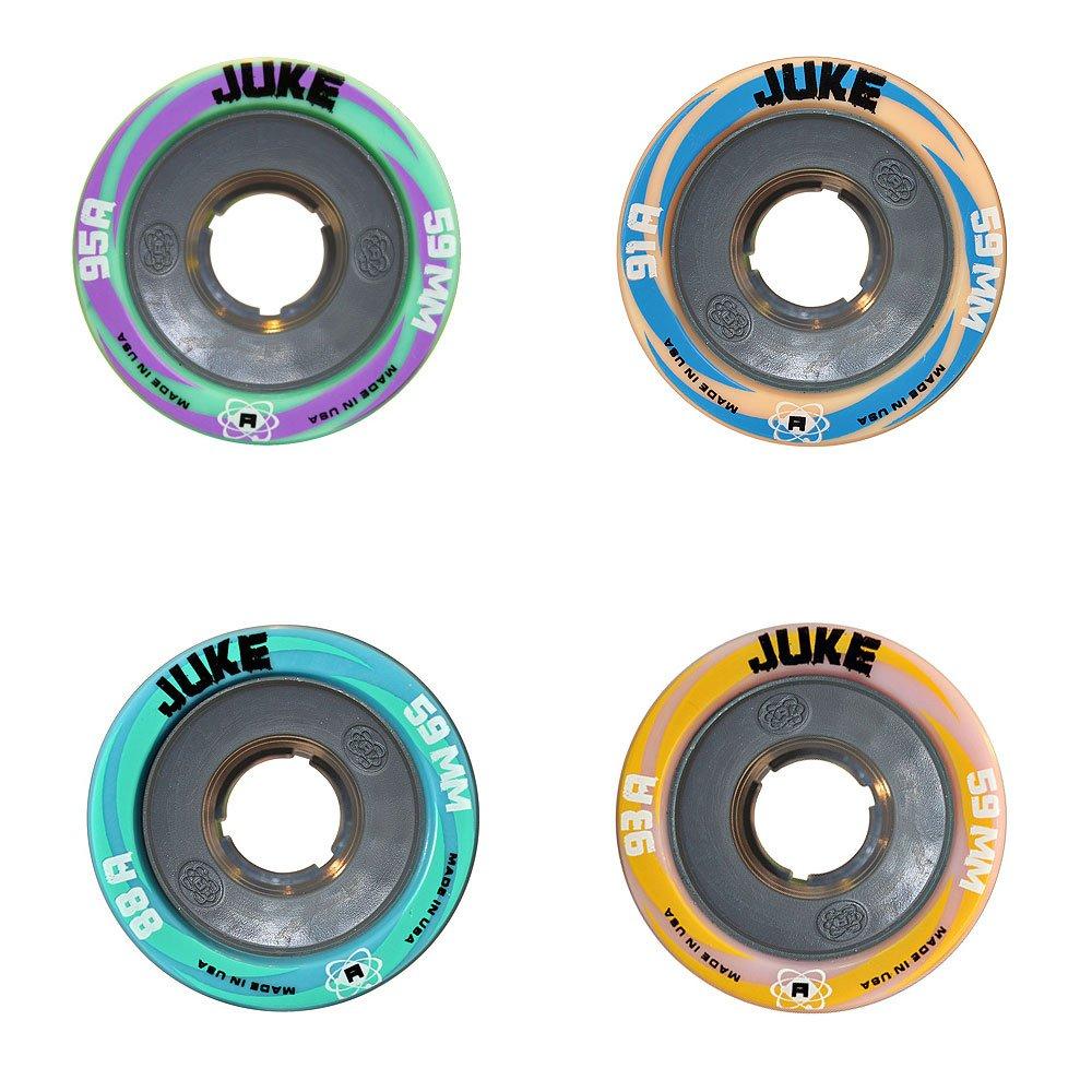Atom Juke 4.0 Quad Roller Skate Wheels with Nylon Hub 59x38mm 91A Hardness 8pk + Devaskation Bag New for 2016 by Atom Wheels