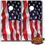CL0002 American Flag Wave CORNHOLE LAMINATED DECAL WRAP SET Decals Board Boards Vinyl Sticker Stickers Bean Bag Game Wraps Vinyl Graphic Tint Image Corn Hole