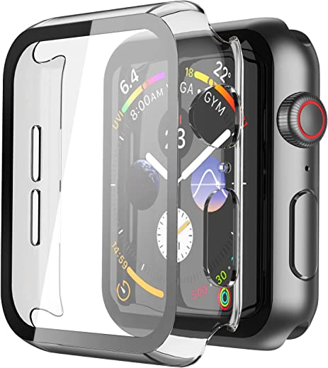 Misxi Hard PC Case with Tempered Glass Screen Protector for Apple Watch Series 6 SE Series 5 Series 4 44mm - Transparent