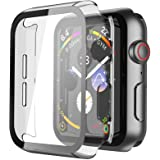 Misxi Transparent Hard Case Compatible with Apple Watch Series 6 SE Series 5 Series 4 40mm, Hard PC Case Slim Tempered Glass
