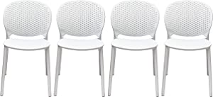 2xhome Set of 4 White Contemporary Modern Stackable Assembled Plastic Chair Molded with Back Armless Side Matte for Dining Room Living Designer Outdoor Garden Patio Balcony Work Office Desk Kitchen