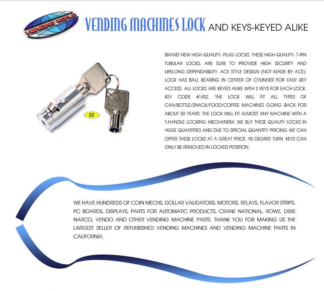 Vending Cylinder Lock and Keys for Coke, Pepsi, Dr Pepper, 7up, soda  Machines