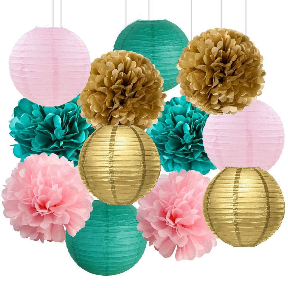 HappyField Bridal Shower Decorations Girls Baby Shower Decorations Girls Birthday Party Decorations Teal Pink Gold Party Decorations Teal Pink Gold Tissue Pom Poms & Paper Lantern Set
