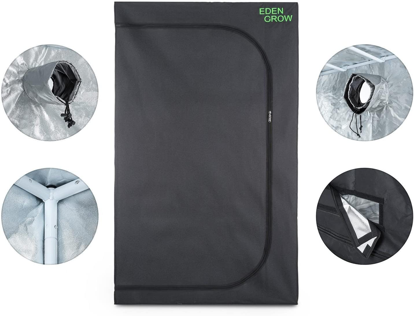 OneConcept Eden Grow S Grow Box Growtent Homegrowing for Indoor Cultivation of Plants 80x80x160cm, Opaque Sheath, Highly Reflective Interior Coating