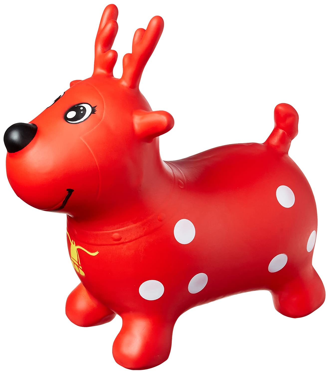 AppleRound Red Reindeer Bouncer with Hand Pump Inflatable Space Hopper Ride on Bouncy Animal