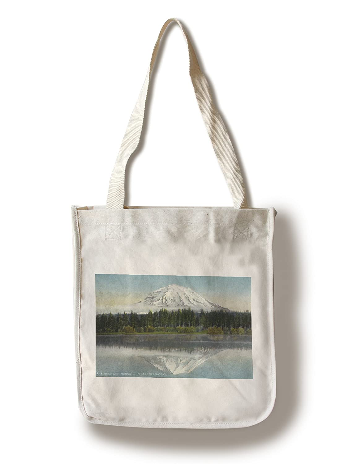 Mount Rainier National Park、ワシントン – View of Mt。Rainier Mirrored in Lake Spanaway Canvas Tote Bag LANT-29750-TT B0187ZWEXU  Canvas Tote Bag