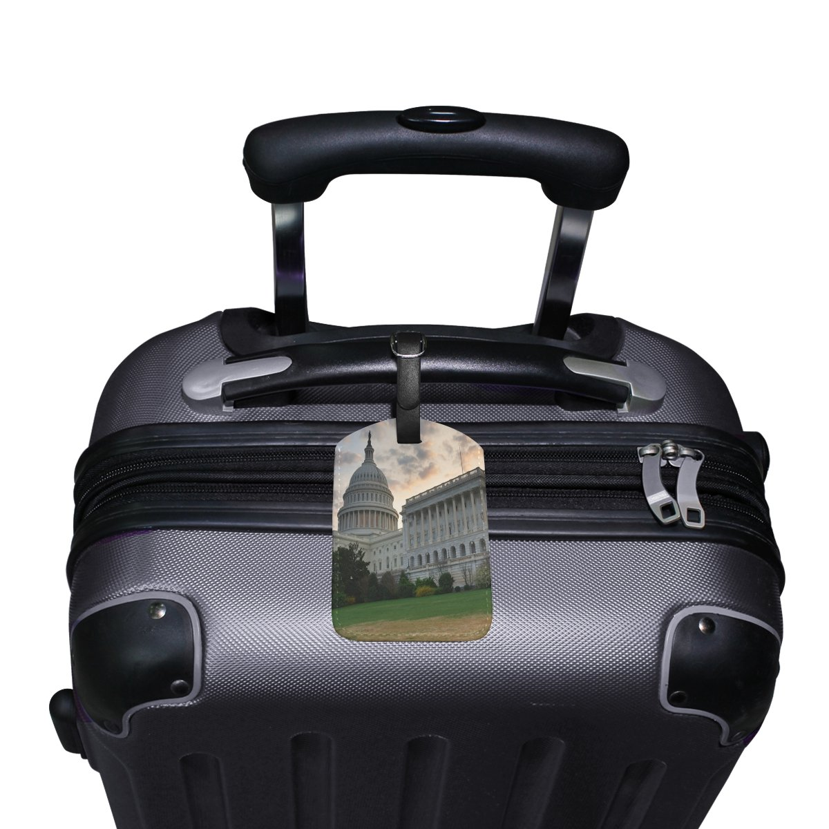 Saobao Travel Luggage Tag Capitol Hill Building Washington DC PU Leather Baggage Suitcase Travel ID Bag Tag 1Pcs