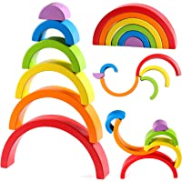 Lewo Wooden Rainbow Stacker Nesting Puzzle Blocks Educational Toys for Kids Baby Toddlers