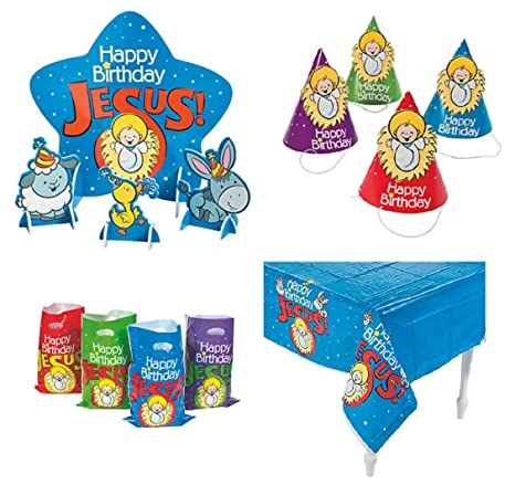 Happy Birthday Jesus Party Supplies Table Cover Centerpiece Hats Favor Bags For 24 Guests
