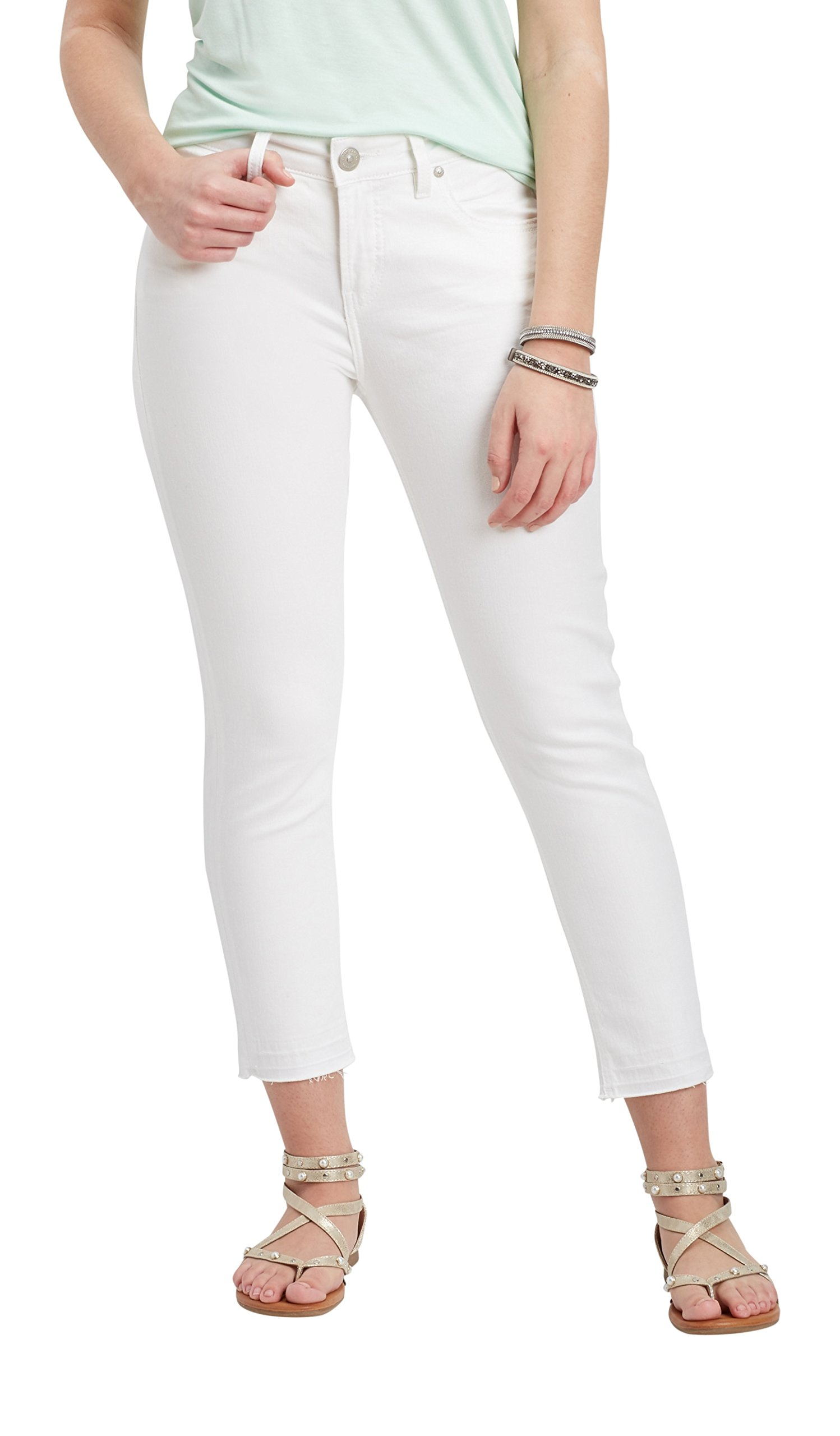 Silver Jeans Co. Women's Avery White High Rise Cropped Skinny Jean 29W White