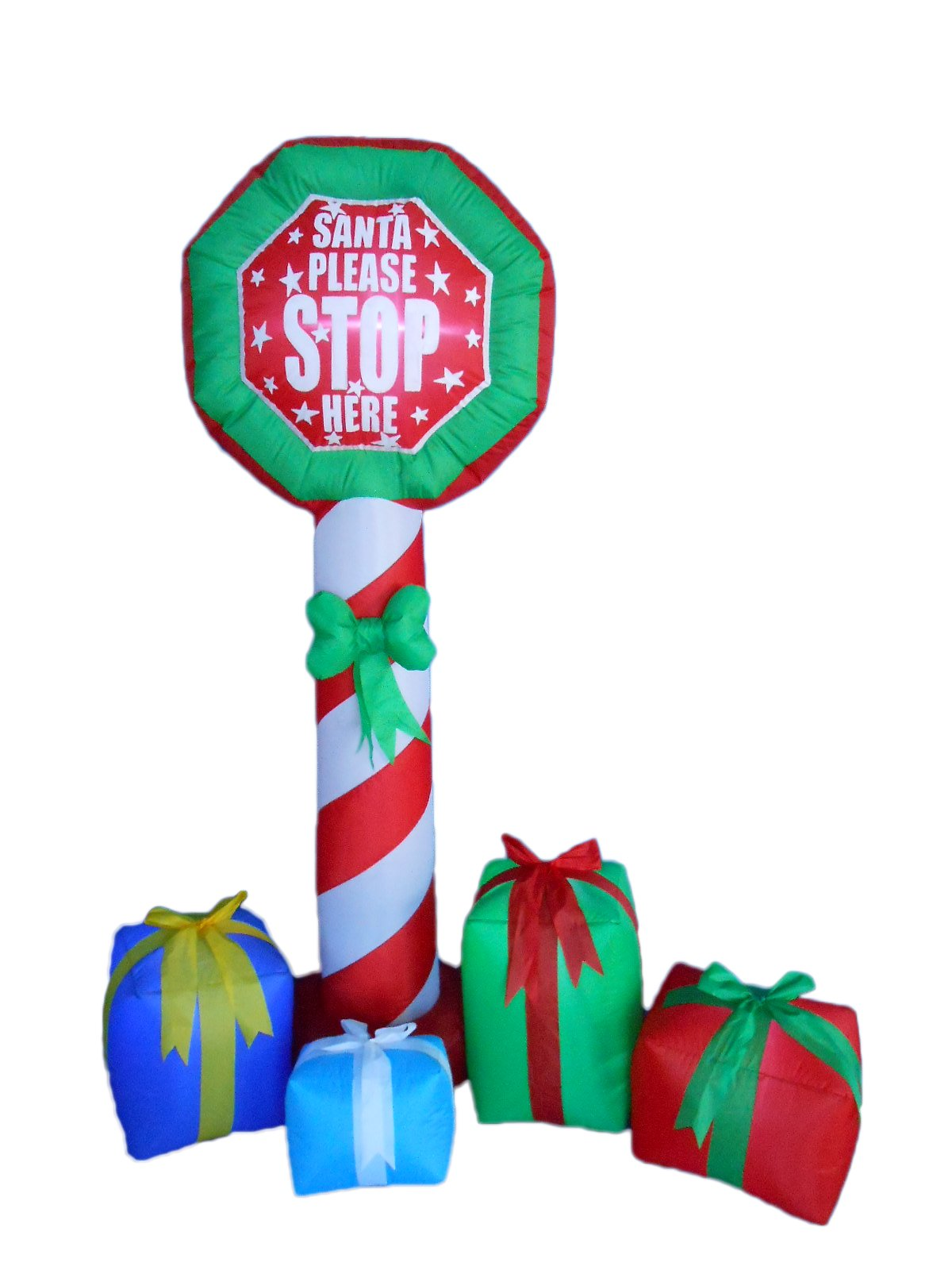 6 Foot Tall Christmas Inflatable Stop Sign Gift Boxes Yard Decoration