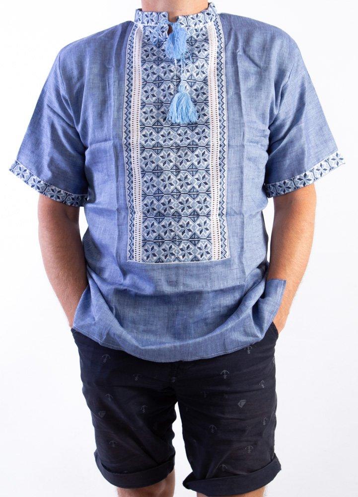 VYSHYVANKA メンズ ウクライナ刺繍シャツ ハンドメイド ブルーリネン 半袖3XL B07DQL2MBG