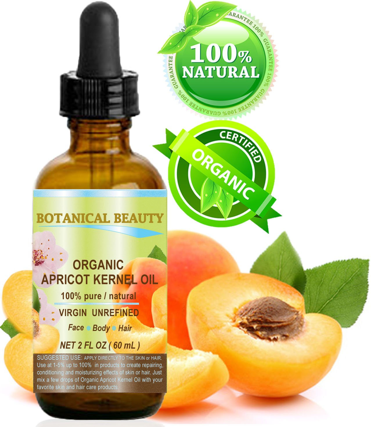 ORGANIC APRICOT KERNEL OIL Australian. 100% Pure / Virgin / Unrefined Cold Pressed Carrier Oil. 2 oz-60 ml. For Face, Hair and Body by Botanical Beauty
