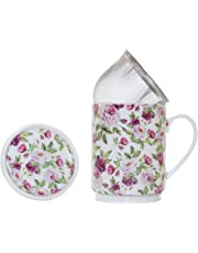 La Cija Rose Garden Tisana de Porcelana con Filtro de Acero Inoxidable, Blanco, 11x7.9x10.9 cm