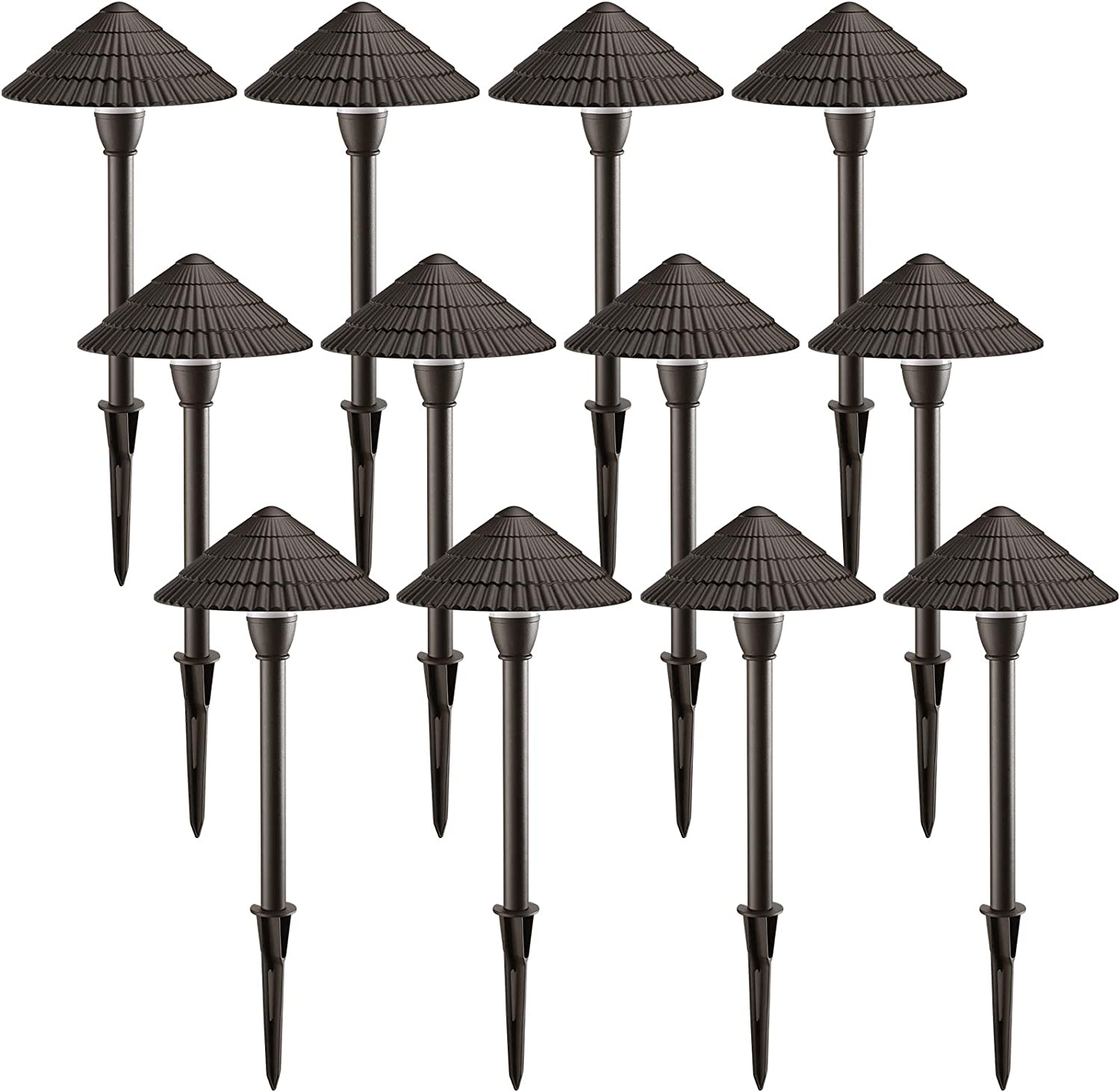 LEONLITE 12-Pack LED Landscape Lighting, Outdoor Waterproof Garden Lights, 3W 12V Low Voltage Pathway Lights, 5000K Daylight, ETL Listed, Mushroom Shape