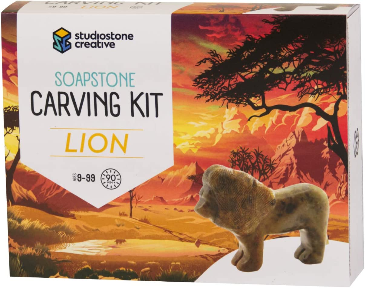 Patterns Children/'s hobby kit Stone Carving Hobby Soapstone and Alabaster Stones Stone Craft Kit and Tools in Canvas Bag