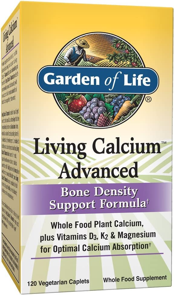 Garden of Life Bone Strength Calcium Supplement - Living Calcium Advanced Bone Health and Density Support, Vegetarian, 120 Caplets Packaging May Vary: Health & Personal Care