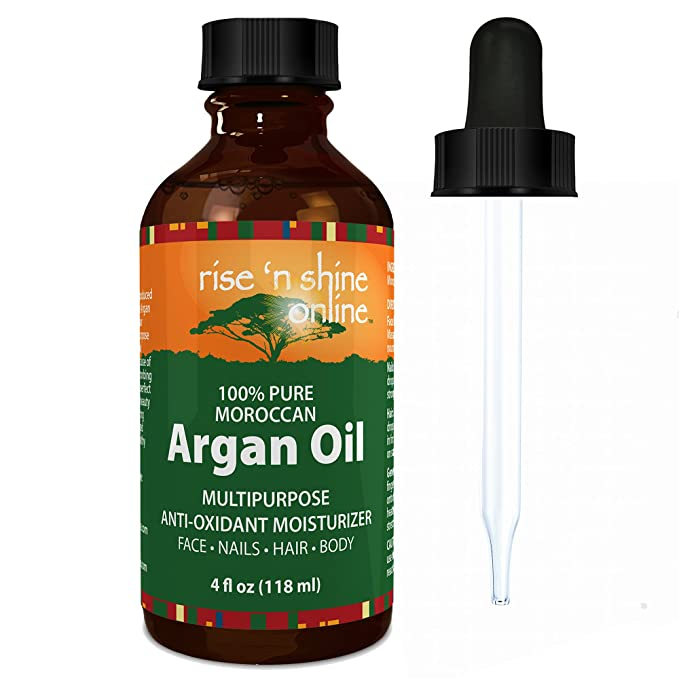 (4 oz) Pure Argan Oil for Skin - Best for Hair, Skin and Nails - 100% Natural Virgin Moroccan Argan Oil is a Great Shampoo, Conditioner, Hair Spray, Mask and Excellent Hair Growth and Loss Treatment
