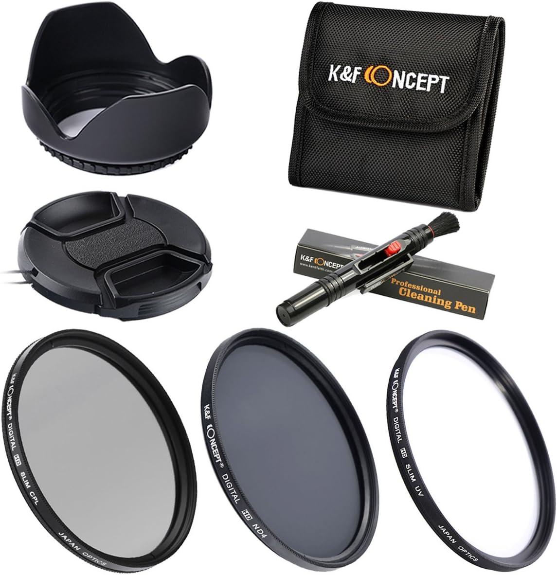 55MM UV CPL ND4 - K&F Concept Kit Filtro Objetivo 55MM Filtro Ultravioleta Filtro Polarizador Filtro de Densidad Neutra para Sony Sigma Tamron DSLR Cámara - incluye Lente de 55mm + Pluma de Limpie